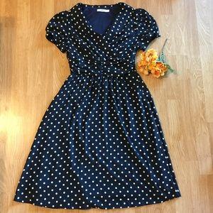 Collared navy blue polka dot dress.