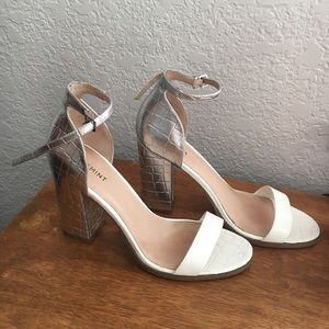 White + Silver Patent Leather Chunky Heel