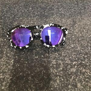 Diff eyewear black dime with purple mirror lenses