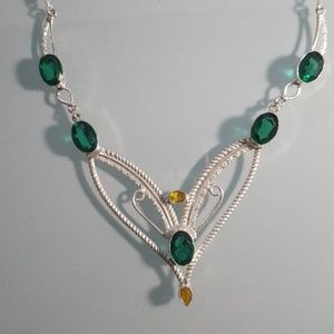 necklace green yelow silver