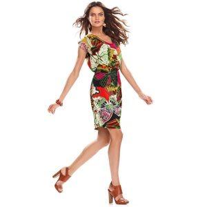 Retro 60's butterfly dress Hippie drape neck