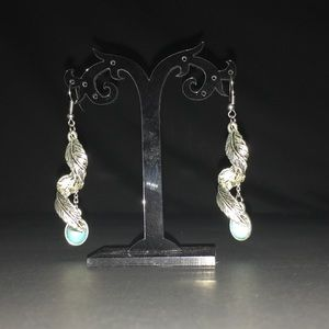 Awesome Tibet silver leaf and turquoise earrings