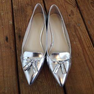 Brand new ZARA flats silver 10 with tassels !
