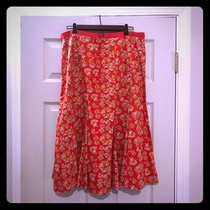 Old Navy Size large red floral skirt
