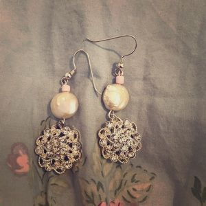Coin pearl and rhinestone button earrings