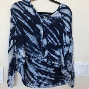 Gorgeous IDI tiedye blue off shoulder top blouse s
