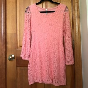 Pink Lace Dress with Bell Sleeves