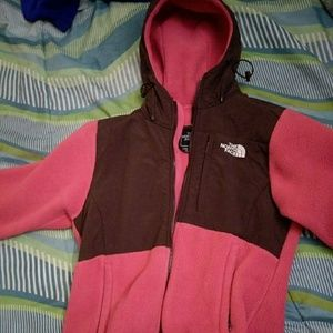 Pink and brown north face