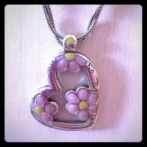 Brighton Reversible Heart with Flowers Necklace