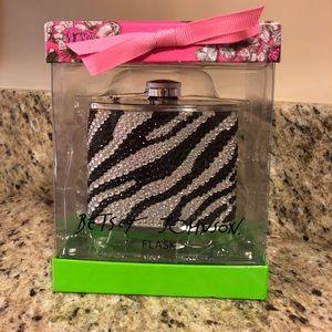 Betsey Johnson Rhinestone Zebra Flask