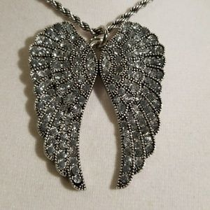 Angel Wings & Crystals Pendant with Chain New