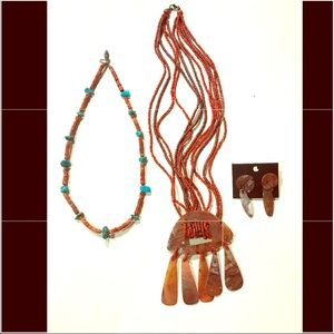 American Indian Native Turquoise Red Bead Necklace