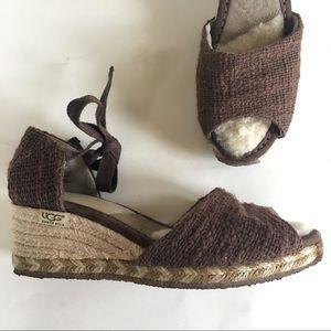 LIKE NEW UGG espadrille fleece lined wedge sandal
