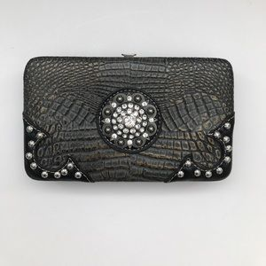 Clutch Wallet with rhinestone and stud accents