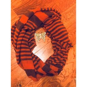 Super soft & cozy orange & brown scarf