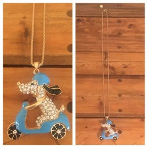 Betsey Johnson Dog & Scooter Necklace