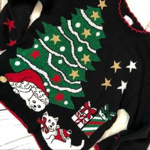 •Vintage• CAT Lady 1980's Christmas Sweater Sz M