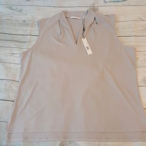Tahari Light Hazelnut Scoop Neck Tank Top XL