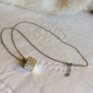 Rhinestone Dice Necklace