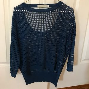 Blue mesh sweater