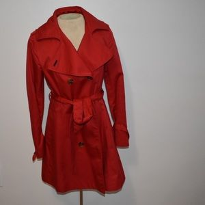 Red H&M trench coat