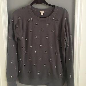 J Crew Grey Embellished Sweatshirt M