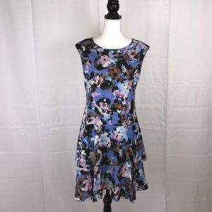 CeCe dress size 6 purple floral tiered cocktail