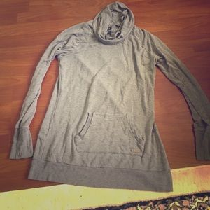 MPG light cowl neck gray tunic sweatshirt