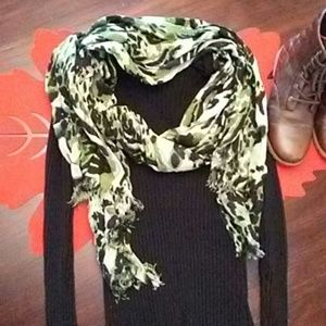 Charming Charlie green and black scarf