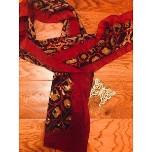 Maroon & cheetah print silk scarf