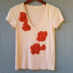 J Crew Cotton and Silk Floral V Neck Tee Small