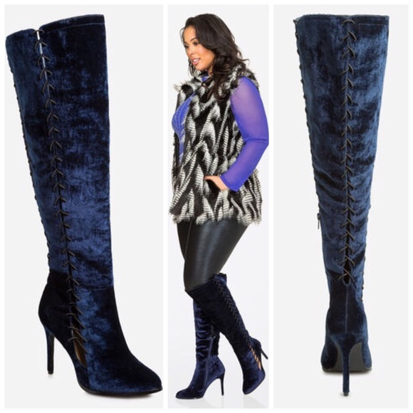 f283bb02f01a Ashley Stewart Shoes - Ashley Stewart Plus Size Tall Velvet Lace Up Boots