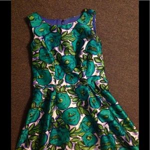 Liz Claiborne Green Flower Fit Flare Dress 8