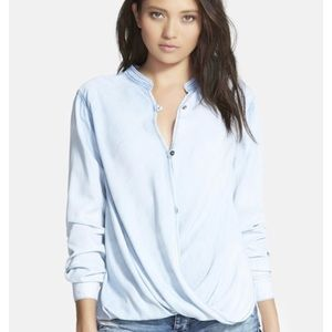 Blank NYC Sugar Baby Denim Button Up Wrap Top S