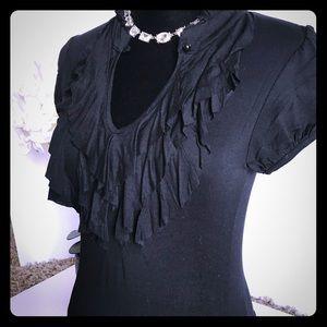 💥Black short sleeve shirt w Ruffles Size Medium