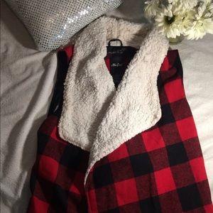 Plaid faux fur vest