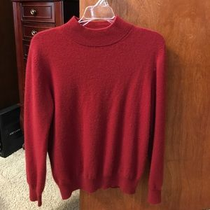 Red cashmere mock turtleneck sweater