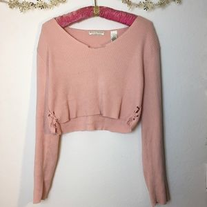 Pink Tie Up Crop Sweater