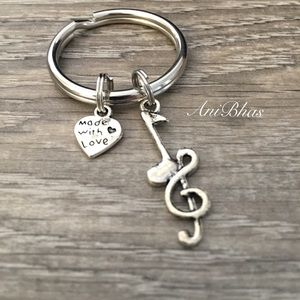 Music Notes Charm Key Ring