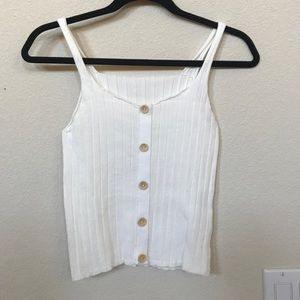 White ribbed knit tank crop top buttons xs s