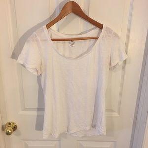 Loft Sunwashed White Tee Shirt