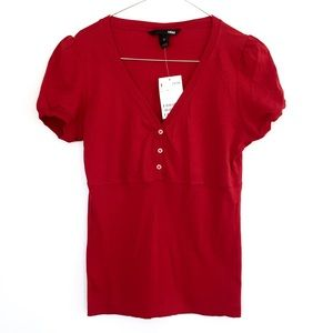 Red Button BLOUSE SHIRT w/ PUFF SLEEVES