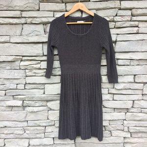 CALVIN KLEIN Gray Charcoal Knit Sweater Dress