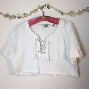 White Lace Up Vintage Crop Top