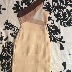 Beautiful beige brown onesleeve mini bandage dress