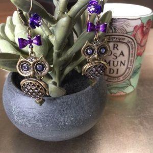 Betsey Johnson Purple and Gold Dangle Owl Earrings