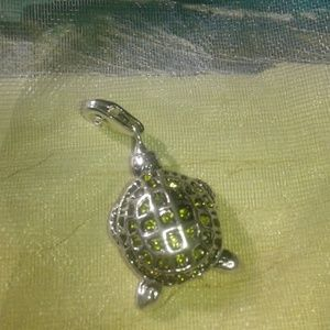 Jewelry - Turtle charm,silver plated? , pave rhinestones