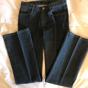 THEORY Bootcut, dark denim jeans. 2