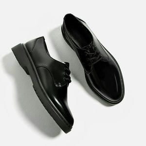 Zara Black Patent Bluchers