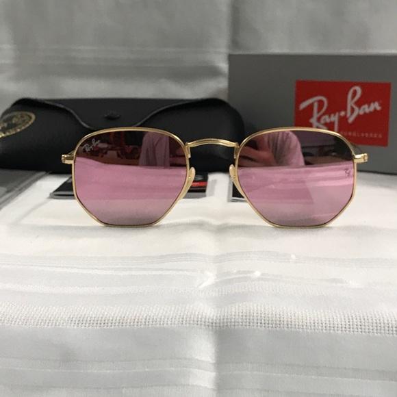 9e511fa51c5 Rayban Hexagonal Gold Brown Mirror Pink Glasses
